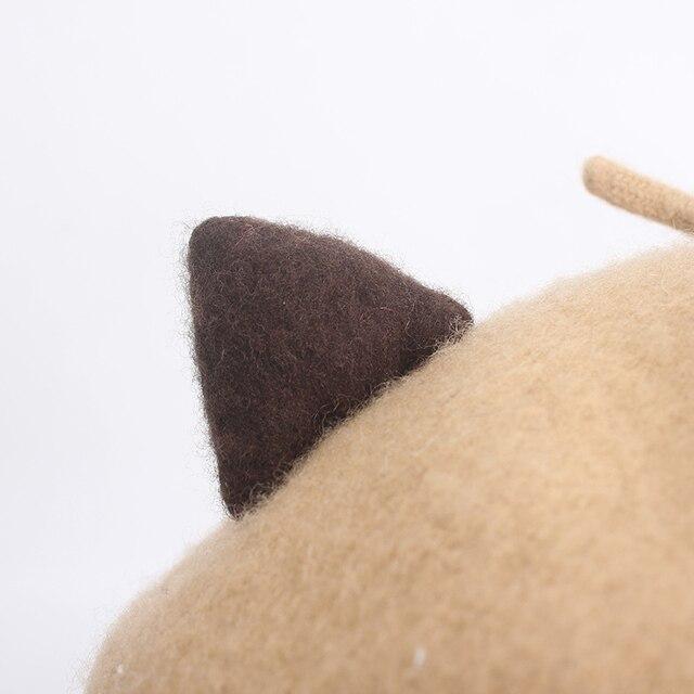ROSELUOSI Otoño Invierno lana boina sombreros Para mujeres lindo gato bordado Boinas gorro que cubre las orejas Boinas Para Mujer