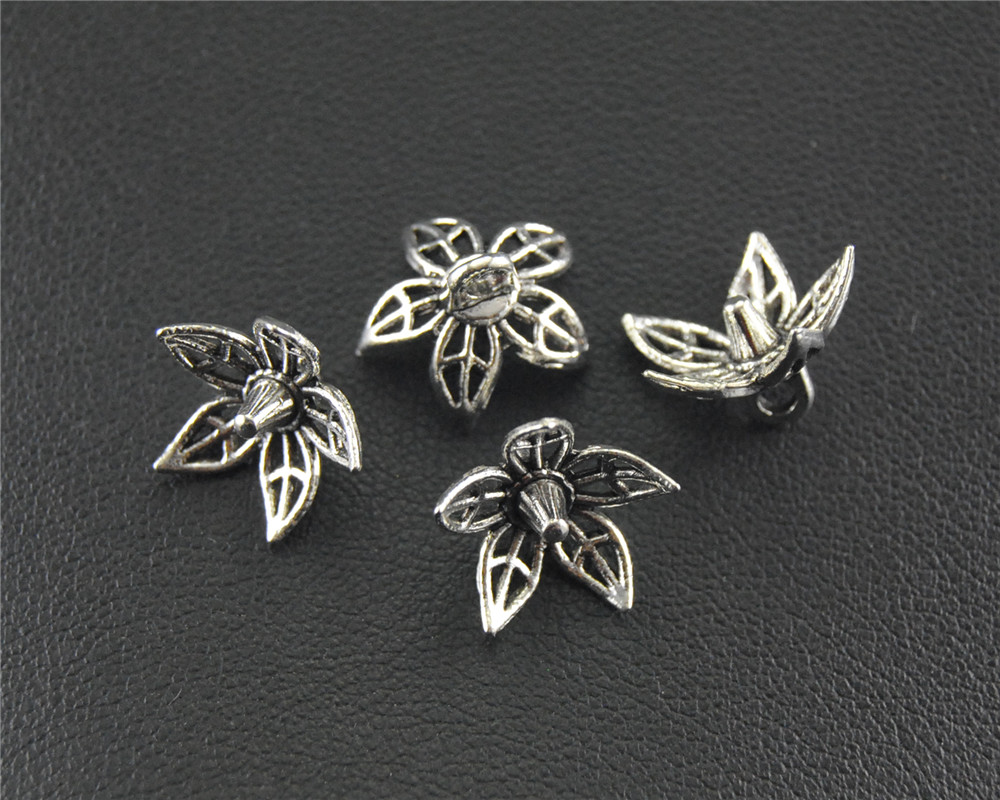 30pcs Antique Sliver Filigree flower Beads Caps End Caps For Jewelry Accessories Crafts 6x11mm A1482