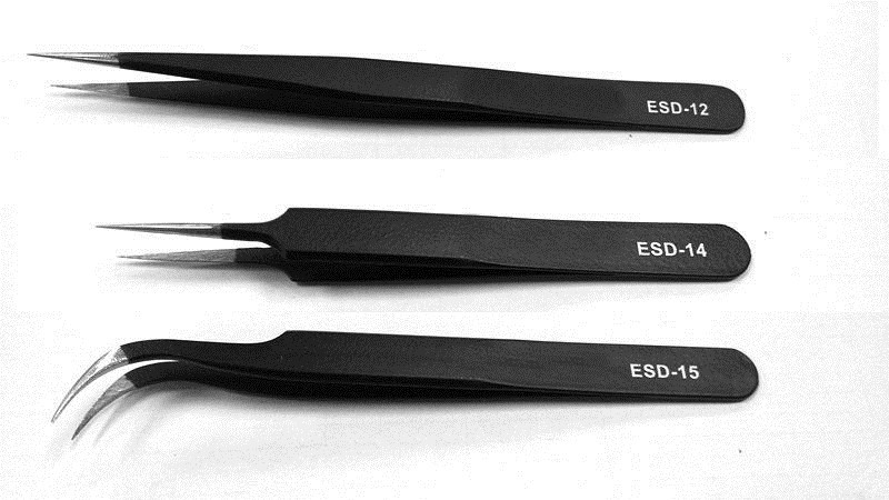 VETUS-ESD-12-ESD-14-ESD-15-Metal-Non-magnetic-Stainless-Steel-Anti-static-Tweezers-ESD