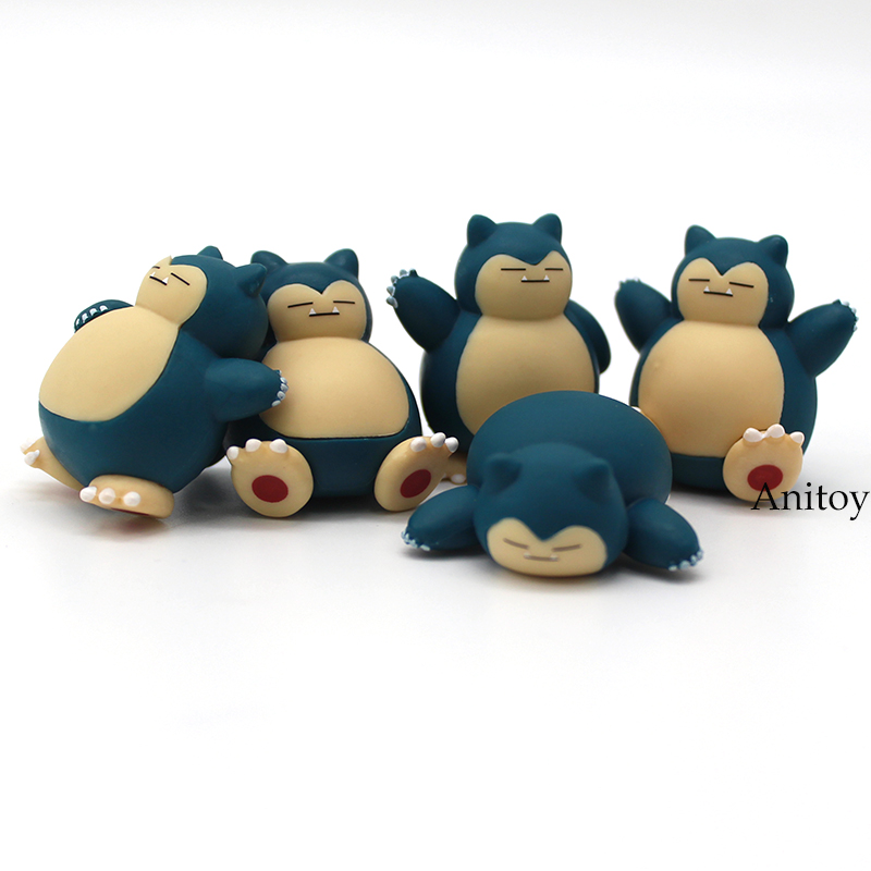 Anime Cartoon Snorlax PVC Figures Toys Dolls Kids Childrens Gift 5pcs/set 4cm