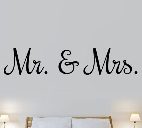 Mr Mrs Love Marriage Bedroom Quote Wall Art Stickers Decals Vinyl Decor  Room Hom