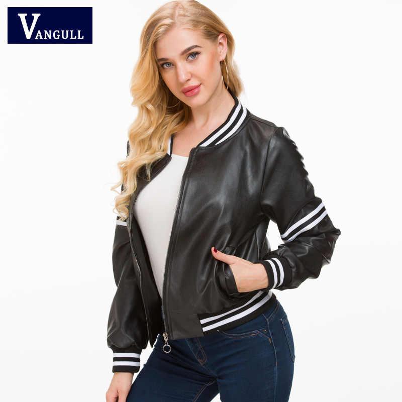Vangull Leather Jacket Women 2018 New Black Leather Short Coat Female Faux Sheepskin Biker Slim Female Pu Motorcycle Jackets