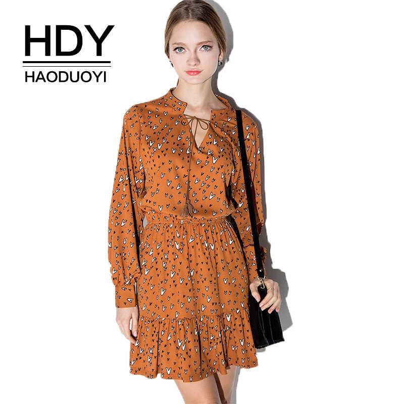 HDY Haoduoyi Brand ruffle flower print short dress Sexy high waist boho mini dress 2019 New casual summer dress vestido female