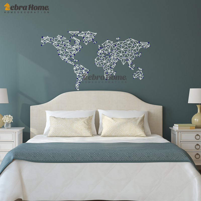 Creative Geometric Map Word Map Wallpaper Wall Sticker Decal Mural for Bedroom Living Room Kids Room Home Decoration