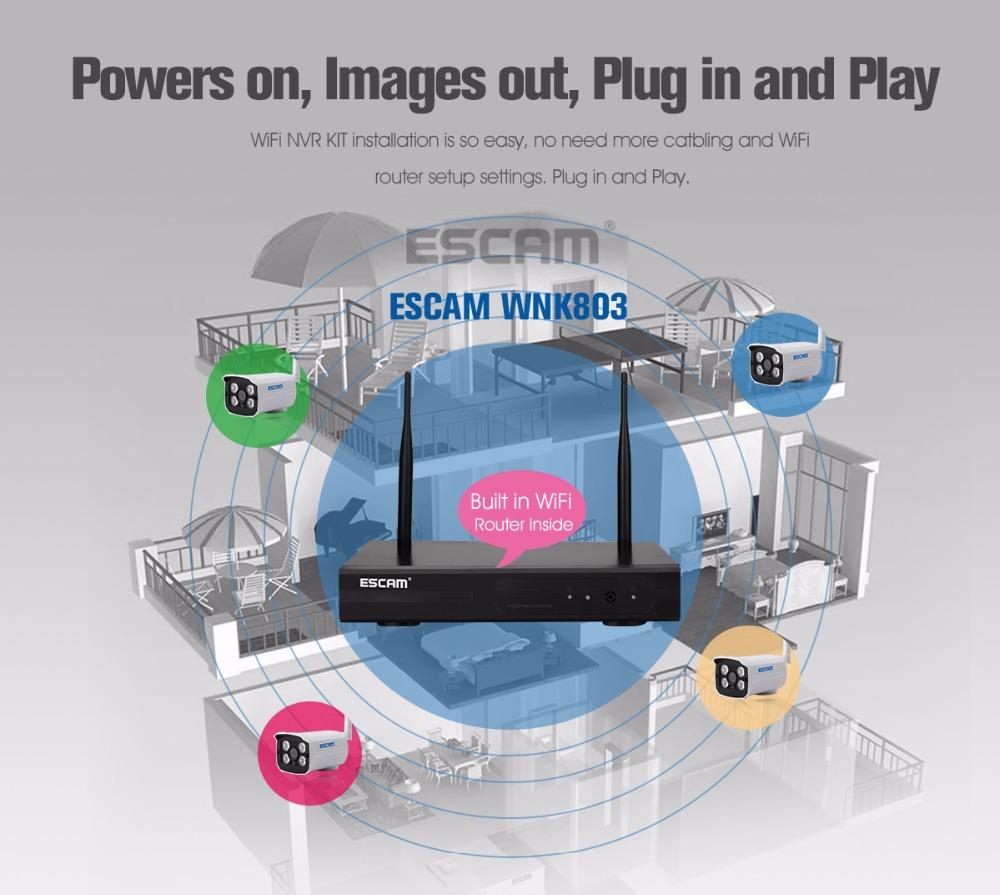 ESCAM WNK803 8ch 720P Wireless NVR kit Outdoor IR Night Vision IP ...