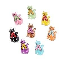 50PCs Natural Wooden Buttons Cartoon Cats Decorative 2 Holes 30*18mm Random Mixed Scrapbooking Accessories