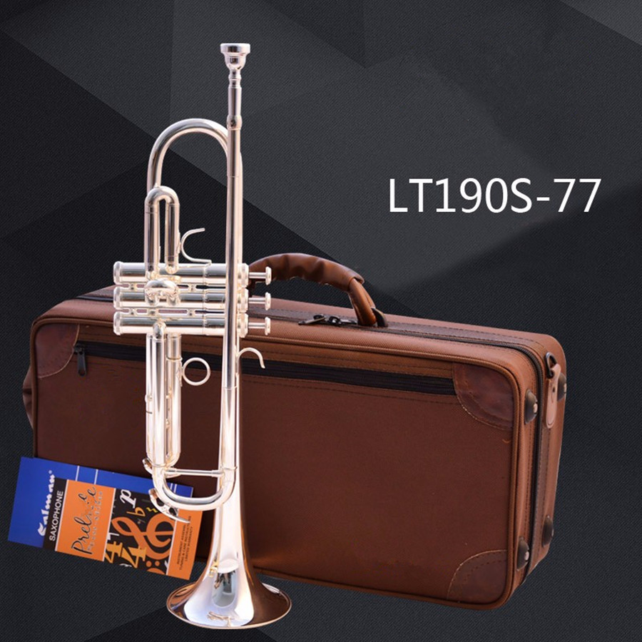 Trumpet Mark Bach Professional Trumpet LT190S-77 Small silver Musical Instruments Series Bb Trumpet Mouthpiece 7 C trumpeta bb f tenor trombone lacquer brass body with plastic case and mouthpiece musical instruments