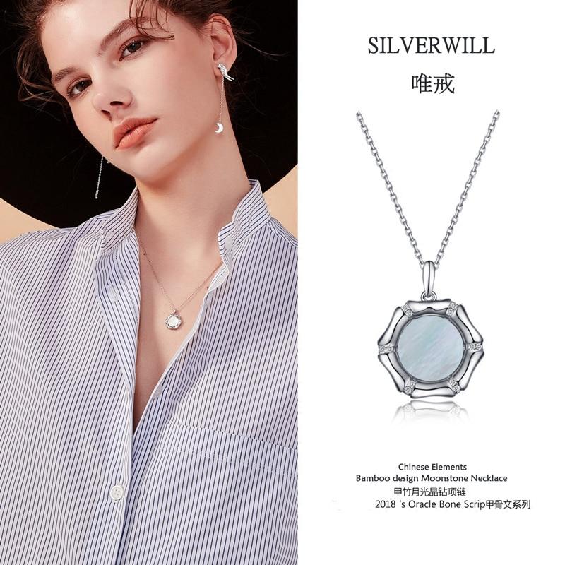 Silverwill vente Chaude 925 Sterling argent nature moonstone collier pendentif bambou conception unisexe de luxe bijoux cadeau spécial