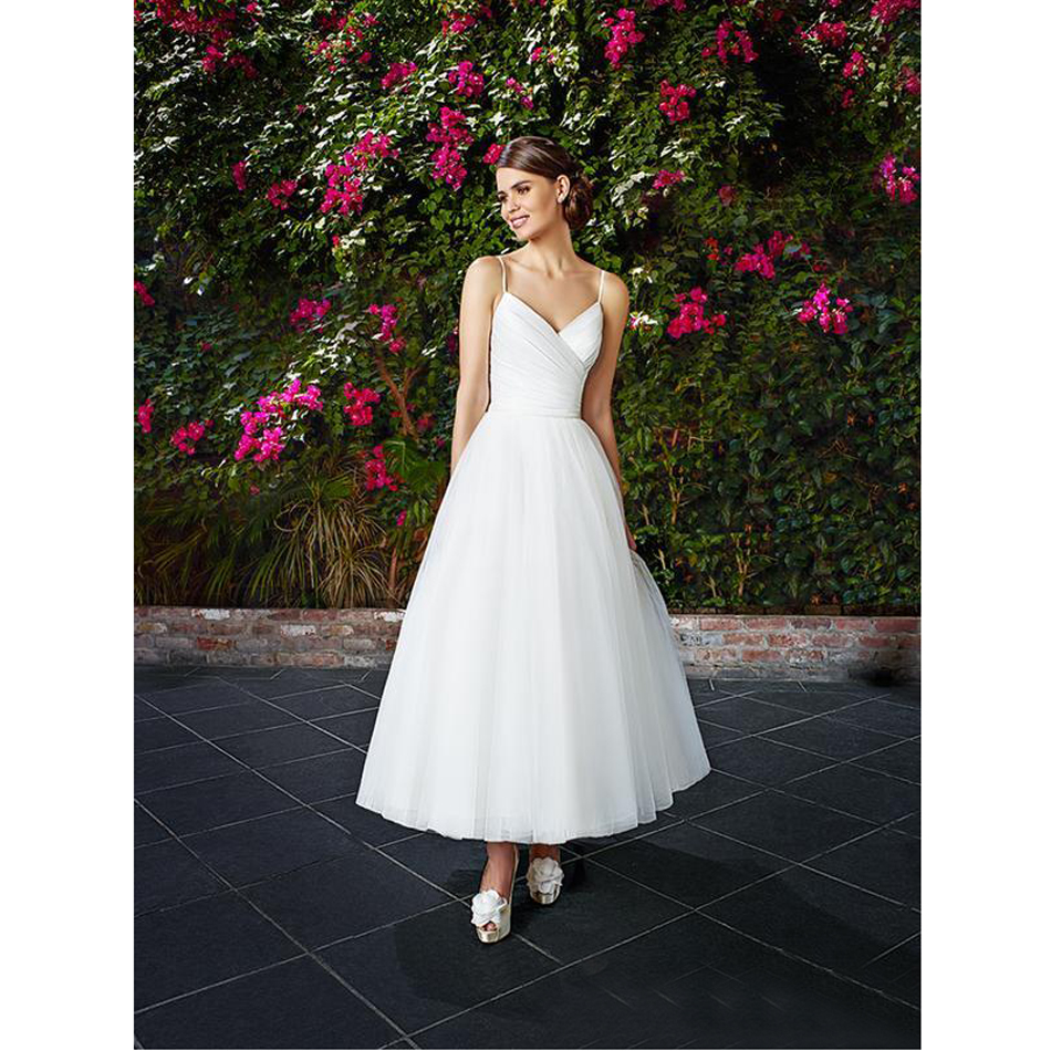 fashion a line spaghetti straps short wedding dresses 2017 new arrivals simple style tulle robe