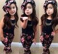 2015 весна лето девушки цветочные свободного покроя костюм устанавливает детский комплект одежды для детей с короткими рукавами + повязка на голову детская одежда комплект