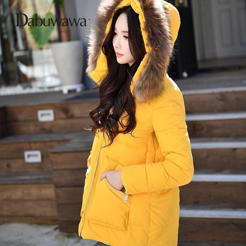 Dabuwawa желтый черный зимний женский меховой воротник повседневное с капюшоном пуховое пальто парка линия теплая куртка пуховик женский