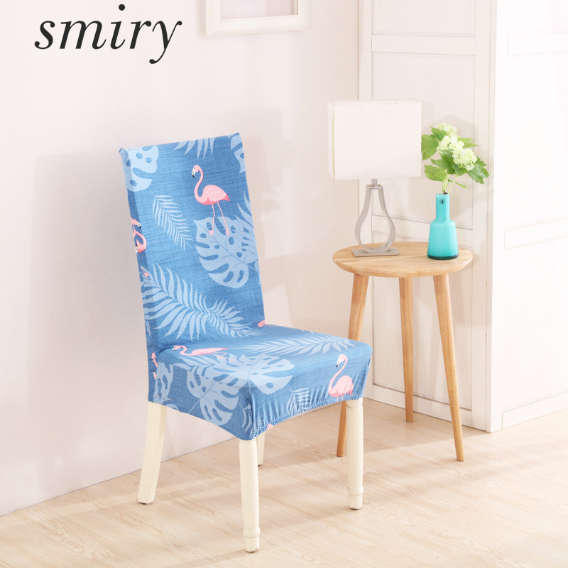 Smiry Dustproof Spandex Polyester Stretch Dining Chair Cover Flowers Flamingo Lovely Animal Washable Folding Hotel Chair Cover