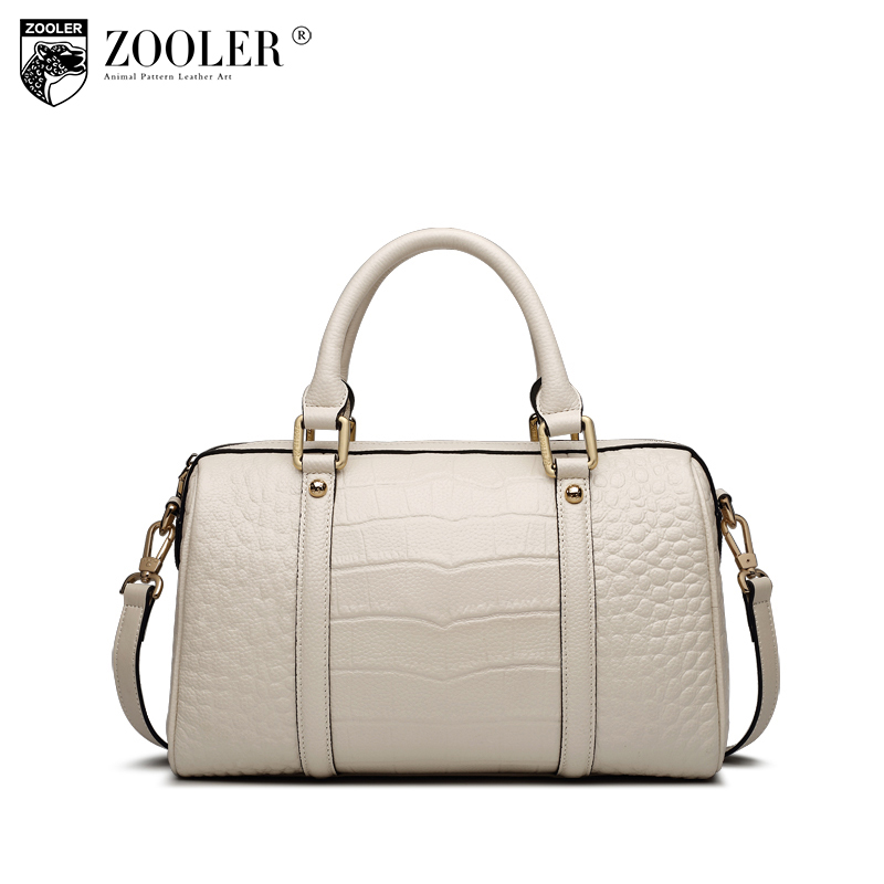 ZOOLER Crocodile Pattern Boston Handbag Genuine Leather Tote Bags Handbags Women Famous Brands Female Messenger Bag Sac A Main zooler fashion genuine leather crossbody bags handbags women famous brands female messenger bags lady small tote bag sac a main