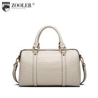 ZOOLER Crocodile Pattern Boston Handbag Genuine Leather Tote Bags Handbags Women Famous Brands Female Messenger Bag