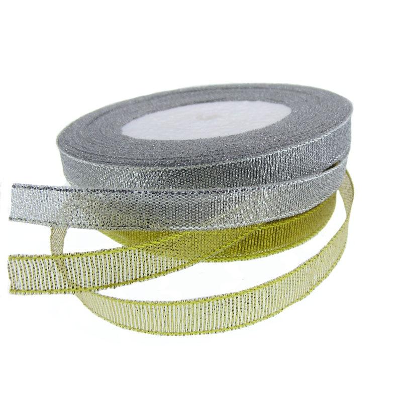 1 рулон 25 ярдов шириной 3/8 дюймов серебро/золото Блестящая лента подарочная упаковка пояс Рождественская лента для вечерние свадебные украшения 10 мм