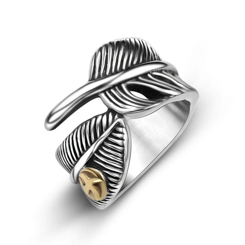 حلقة ريشة تاكاهاشي غورو مع حلقات النسر الذهبية للذكور والإناث الأزياء والمجوهرات التيتانيوم الصلب الهندية