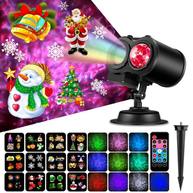Christmas Lights Outdoor Waterproof LED Laser Snow Animation Effect IP65 Indoor/Outdoor Projector 16 Patterns Snowflake/Snowman