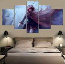 Modern Painting Canvas Wall Art 5 Piece RWBY Ruby Rose Anime HD Print Decor Home Living Room Artwork