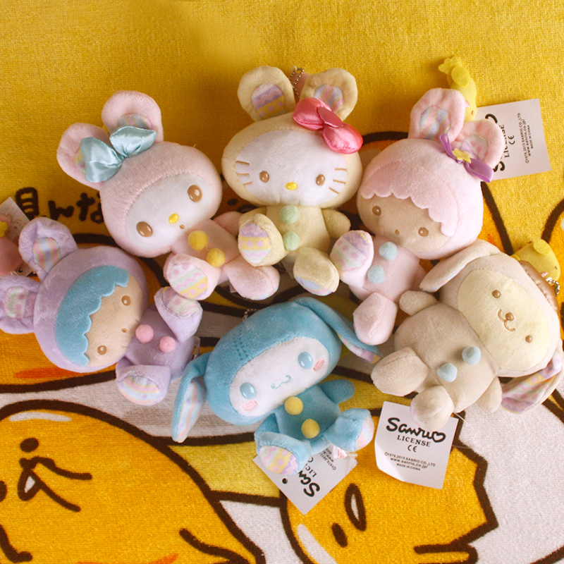 Hot Tsum Sanrio Melody Rabbit Pudding DogHello Kitty Easter series Plush doll Keychain Toys for Kids