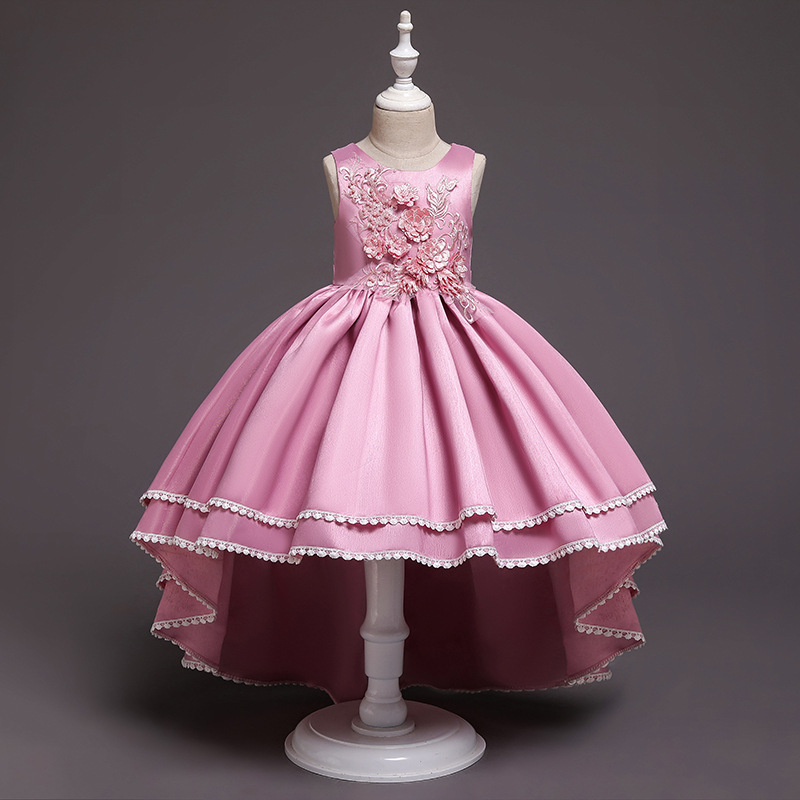 2019 Party dress for girl  / Asymmetrical dress for girls / Flower girl dress / 3D flower