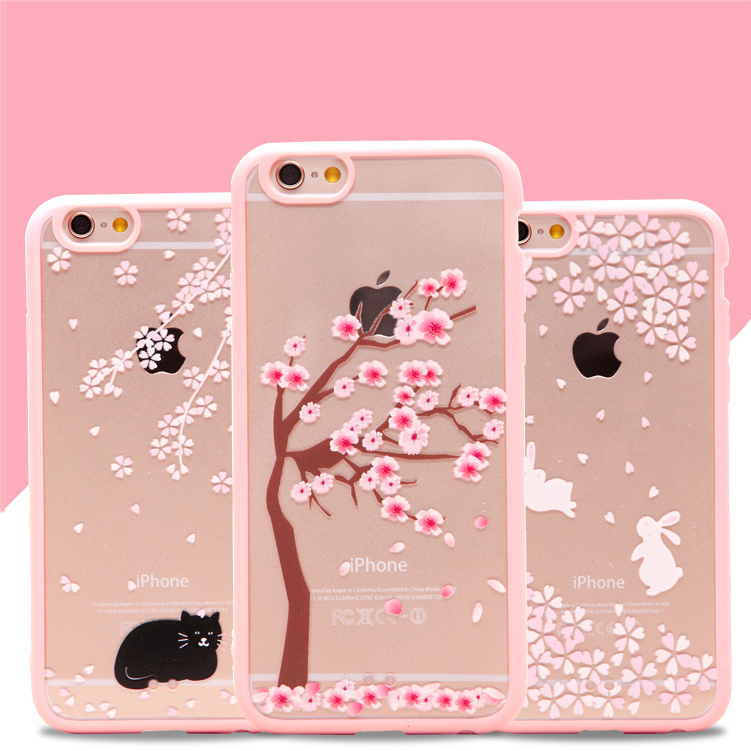 fashion sakura flowers tree rabbit cat fundas cover case. Black Bedroom Furniture Sets. Home Design Ideas