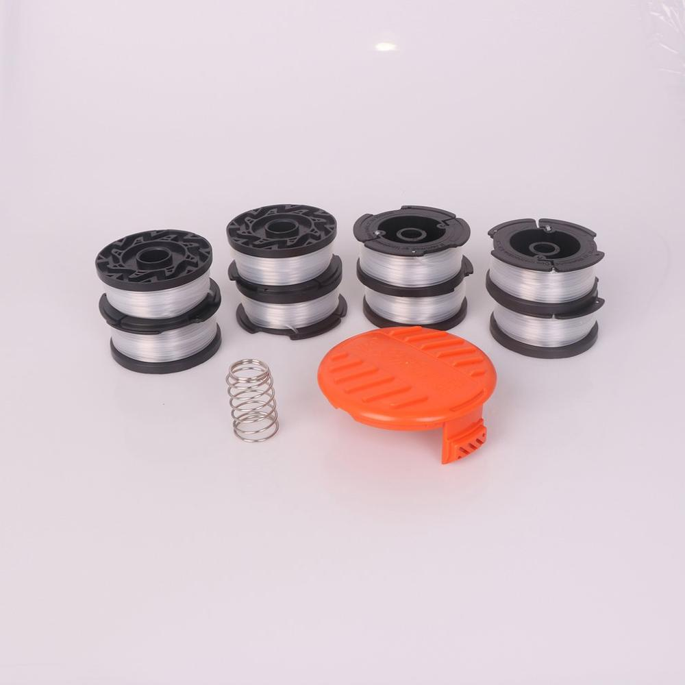 8pcs Durable Portable Use Replacement Spool String Trimmer Line Suitable For Black+Decker Spool Nylon Grass Line