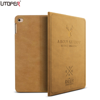 UTOPER 3D Deer Pattern Case For IPad 123 Case Retro Sleep Wake Up Flip Leather Cover