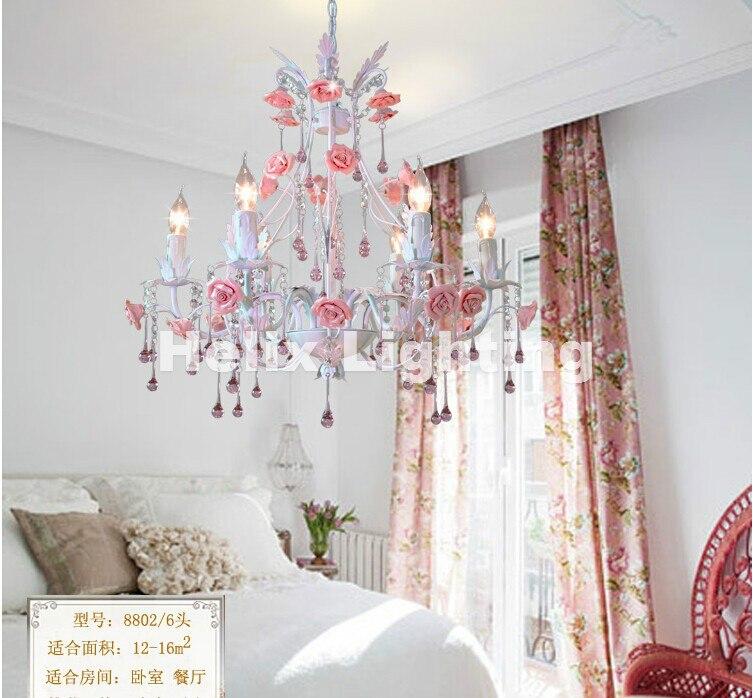 Free Shipping Newly White European Chandelier lamp Lustre Light 6L/8L Pink Rose Flower Chandelier Light Fixture E14 Decoration