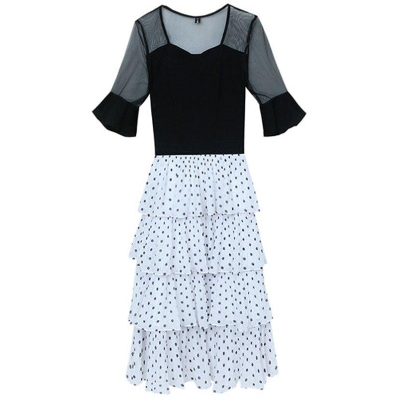 Vintage femmes vague point robe offre spéciale à manches courtes patchwork une ligne robe décontracté femmes printemps été robes