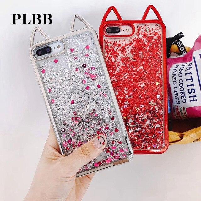 0f397aa1b9bf PLBB Fashion Girls Cute Cat Ear Bling Glitter Powder Liquid Quicksand Soft  TPU Clear Phone Cover Case for iPhone 6 6s 7 8 Plus X