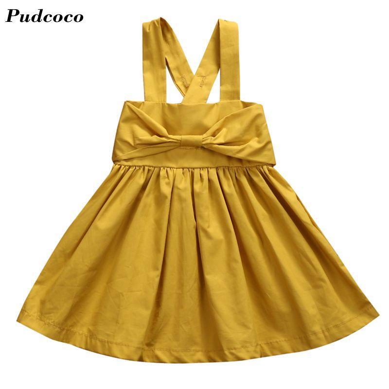 INS HOT Ginger Dress New Toddler Infant Kids Baby Girls Summer Dress Princess Party Tutu Bow Dresses