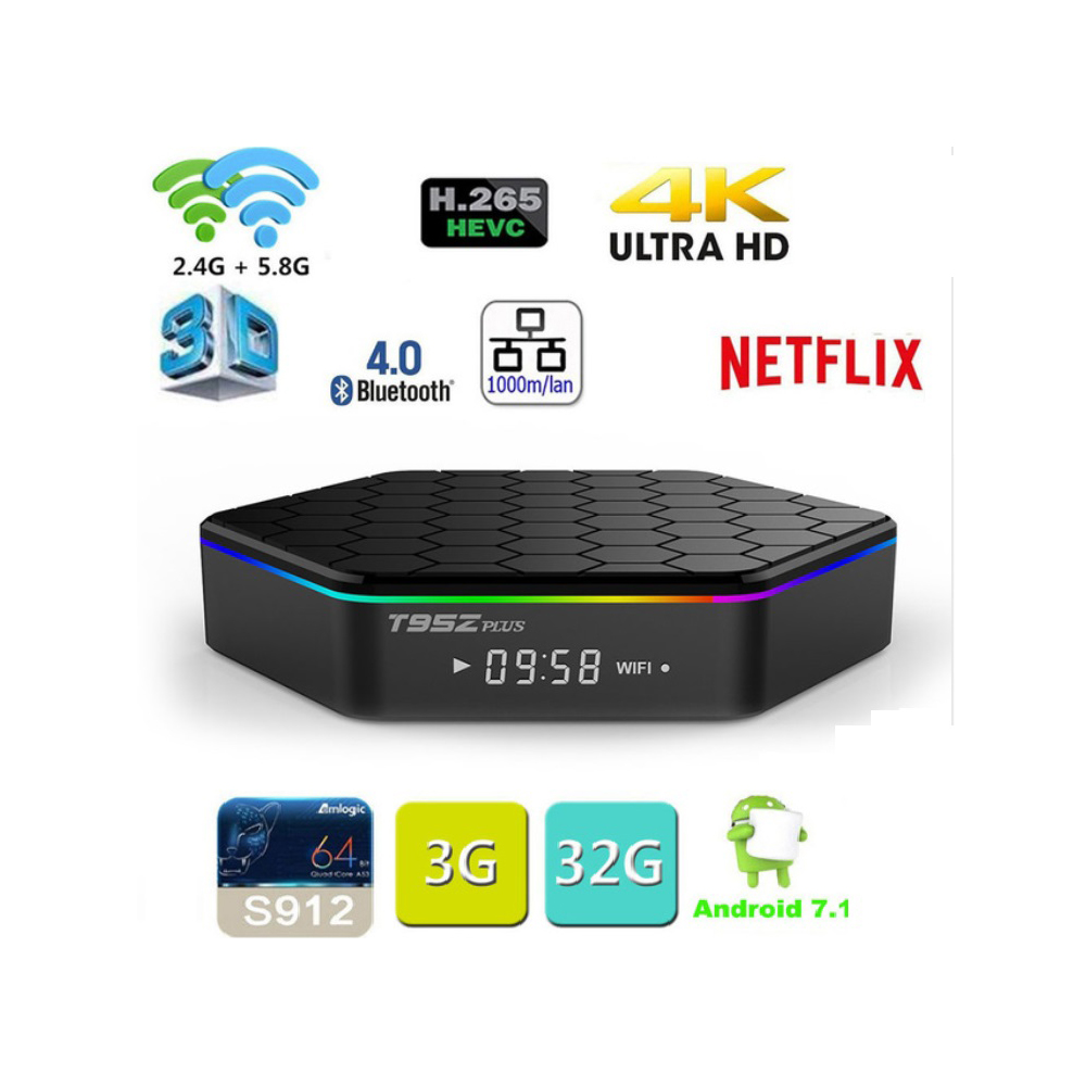 T95Z Plus Smart TV BOX  Amlogic S912 Octa Core Android 7.1 5GHz WiFi BT4.0 with haohd IPTV subscription HK TW Singapore Chinese-in Set-top Boxes from Consumer Electronics    2
