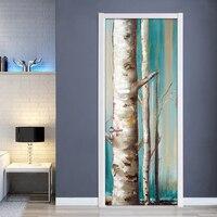 유럽 스타일 복고풍 손으로 그린 자작 나무 나무 숲 유화 diy 자기 접착 3d 도어 스티커 벽 서류 홈 장식