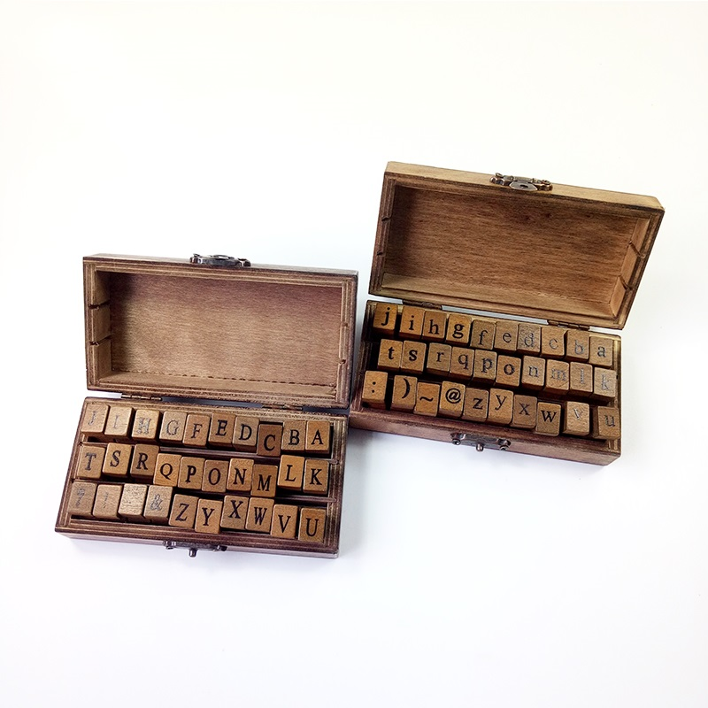 30 Pcs/set Uppercase & Lowercase Letter Retro Vintage Wooden Craft Box Alphabet Clear Stamp Rubber Stamp Set For handmade decor шкатулки trousselier музыкальная шкатулка wooden box жираф