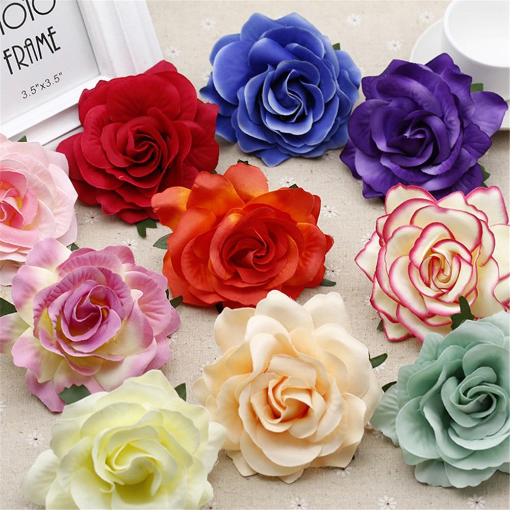 Buy 2pcs 10cm silk blooming roses artificial flower head for wedding image 2pcs 10cm silk blooming roses artificial flower head for wedding car decoration diy garland decorative izmirmasajfo