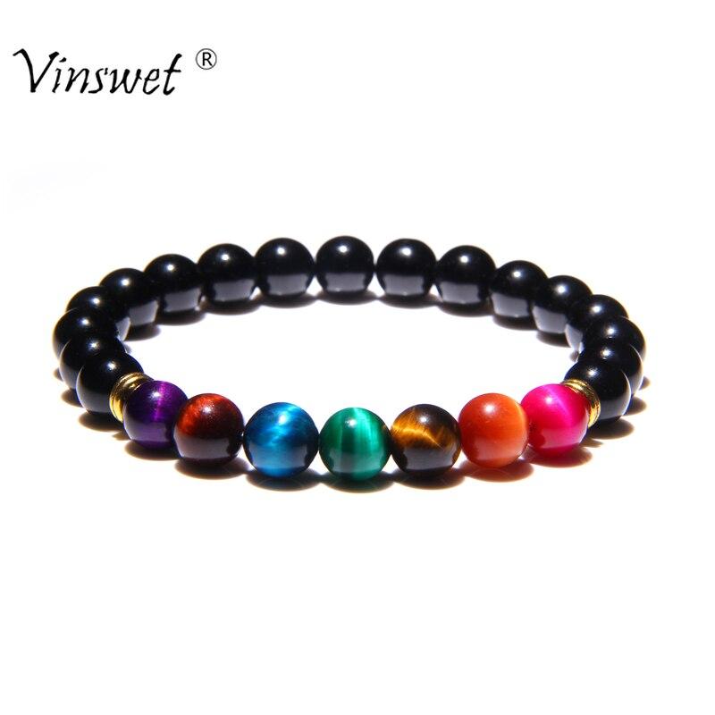 Fashion Bless Lose Weight Chakra Bracelet Natural Stone Tiger Eye Beaded Bracelets for Women Men Reiki Prayer Jewelry Pulseras jewellery