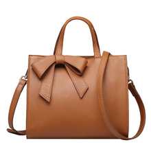 QIANGSHILI Brand Fashion Solid Bow-knot Saffiano Genuine Leather Big Top-Handle Luxury Handbags Women Bags Designer High Quality