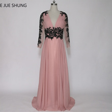 E JUE SHUNG Dusty Pink Black Lace Appliques Long Evening Dresses Deep V-neck Long Sleeves Mother of the Bride Dresses