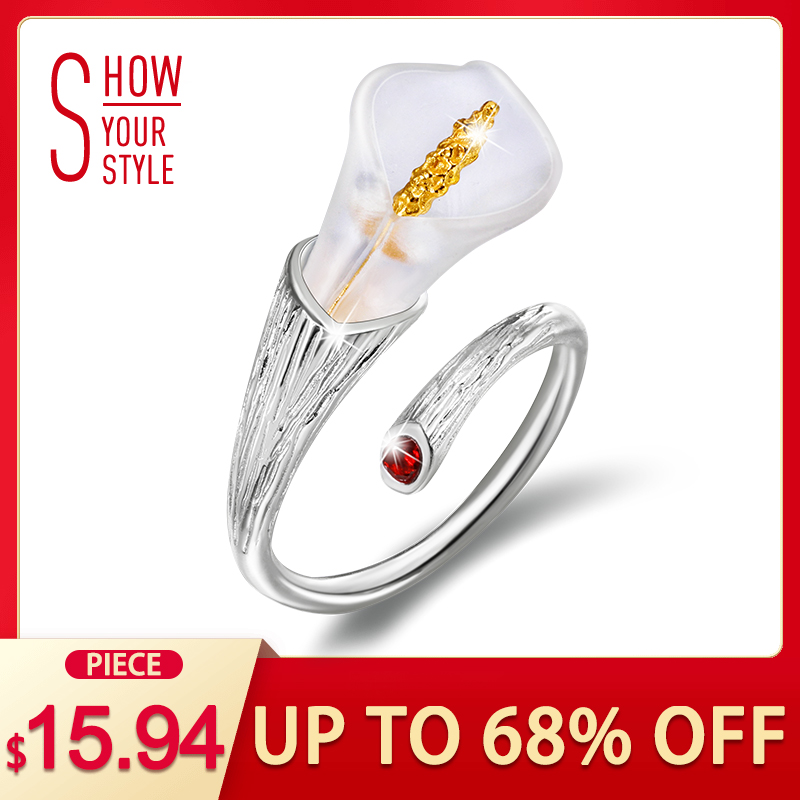 Lotos Fun Real 925 Sterling Silver Natural Handmade Projektant Fine Jewelry Calla Lily Flower Ring Regulowane Rings Kobiety Bijoux