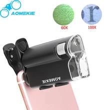 Universal Clip LED Zoom 60X-100X Микроскоп Ювелирных Оценки Лупа для Мобильного Телефона УФ Валют Detectting Биологии Микроскоп