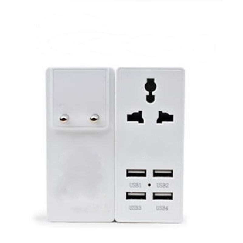 Universal Travel Charger Adapter 4 USB Part Adaptor Worldwide Electrical Socket For US UK EU AU International Travel Plug in Electrical Plug from Consumer Electronics