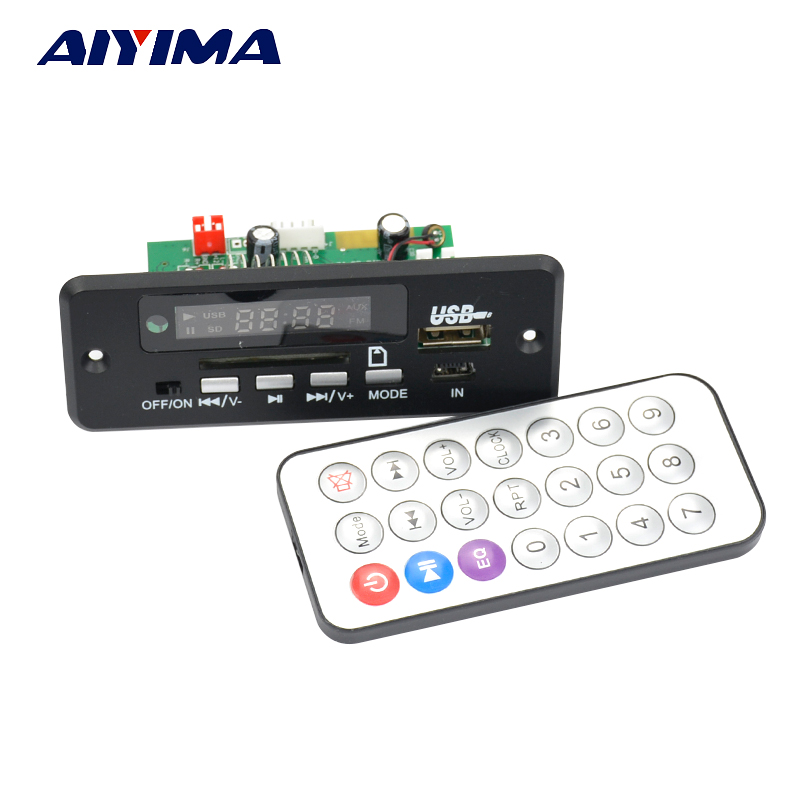 Aiyima 12V Bluetooth MP3 WAV audio-decoderbord met schakelaar AUX 5P-kaart handsfree bellen