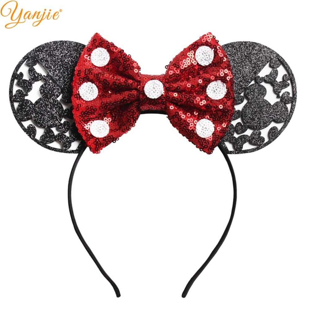 3 3 Big Glitter Minnie Mouse Ears Hairband For Girls 2019 Valentine S Day Party Diy Dots Sequin Bow Headband Hair Accessories