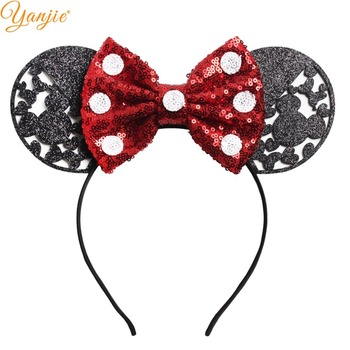"3.3"" Big Glitter Minnie Mouse Ears Hairband For Girls 2019 Valentine's Day Party DIY Dots Sequin Bow Headband Hair Accessories"
