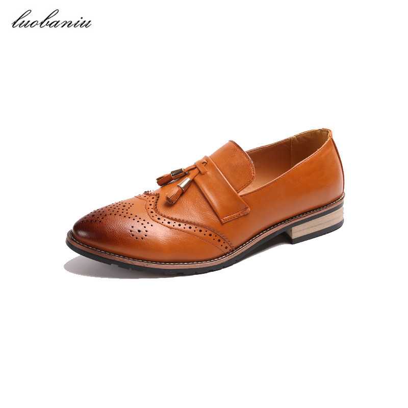 Fringe Pointed Toe Leather Shoes Men Shoes Causal Slip On Moccasins Men Loafers new brush oxford shoes for men slip on pointed toe fringe oxfords men shoes leather causal formal men dress shoes zapatos hombre