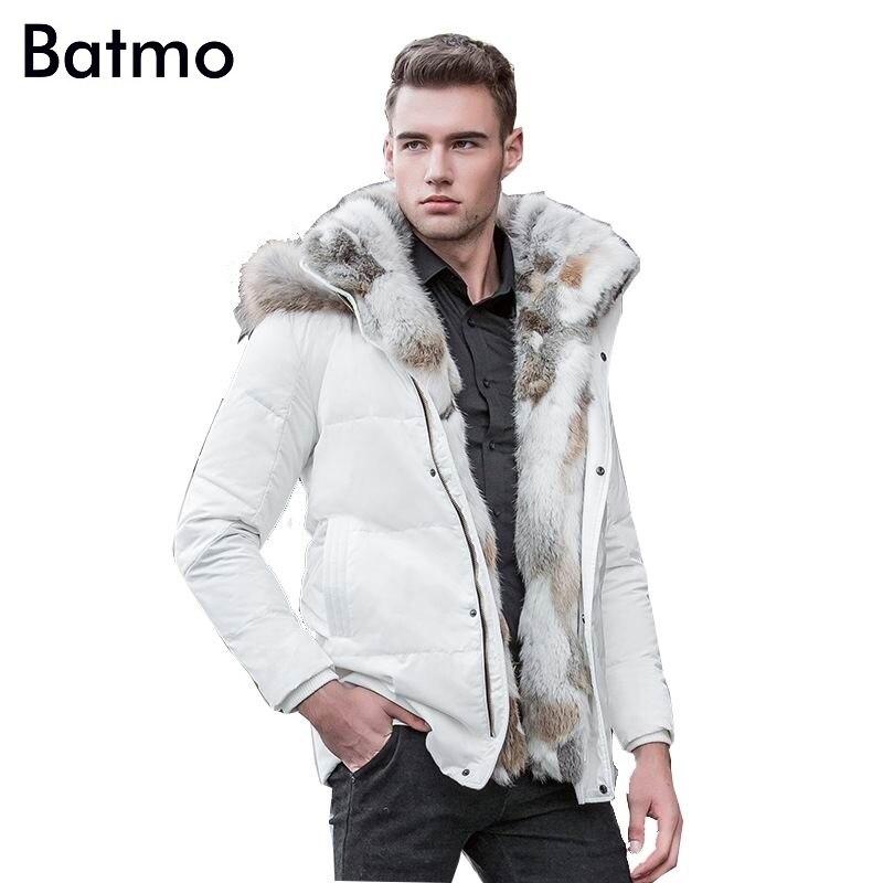 Batmo 2018 invierno pato de alta calidad abajo chaqueta parkas grueso forro masculina ropa de abrigo Cuello de piel de conejo, más-Tamaño 828