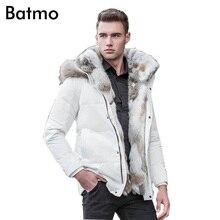 Batmo 2018 зима высокое качество куртка-пуховик Мужское пальто парки Толстые лайнер мужской теплая одежда кролик меховой воротник, плюс размер 828