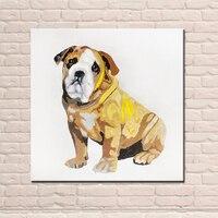 Pintado A mano de Alta Calidad Abstracta Moderna Animal Pintura Al Óleo sobre Lienzo Pinturas Amarillo Bulldog Navidad Decoraciones para el Hogar
