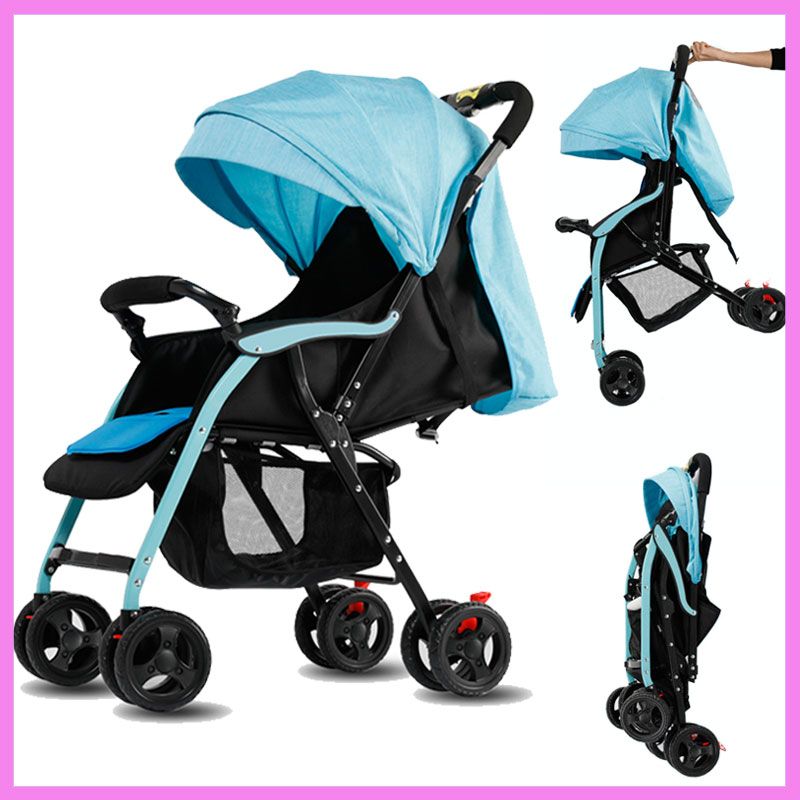 Lightweight Portable Umbrella Car Shock Absorber Removable Baby Stroller Can Sit Lie Baby Carriage Reversable Handle Light Pram