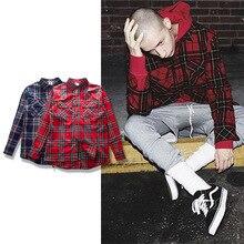 Streetwear Punk Tartan Brand Clothing Men Clothes Korean Extended Gray red Checkered Plaid Shirt Dress New